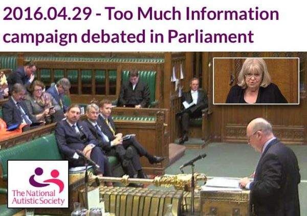 "NAS ""Too Much Information"" campaign debated in Parliament"