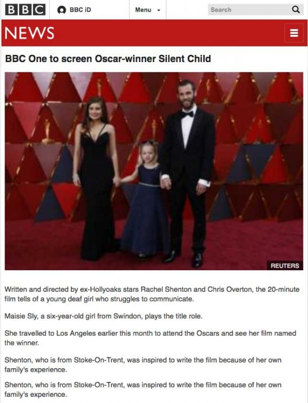 BBC One to screen Oscar-winner Silent Child